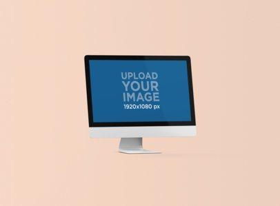 Minimal iMac Mockup with a Colored Backdrop 1284-el