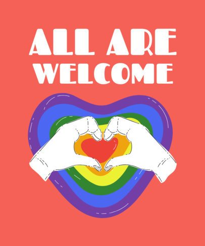 Cause T-Shirt Design Template with a Rainbow Flag Heart 2021e