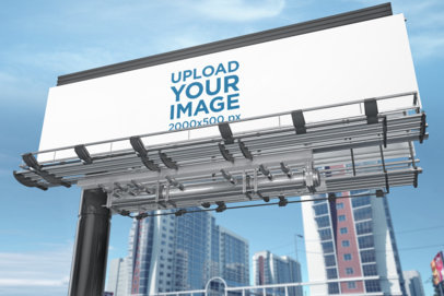 Billboard Mockup with Skyscrapers Behind It 1694-el