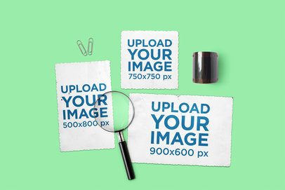 Mockup Featuring Three Vintage Postcards Placed by a Magnifying Glass 1434-el