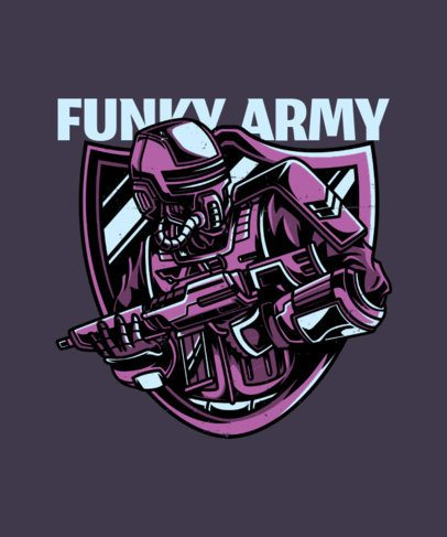 T-Shirt Maker with the Illustration of a Robotic Soldier with an Assault Rifle 27h-el