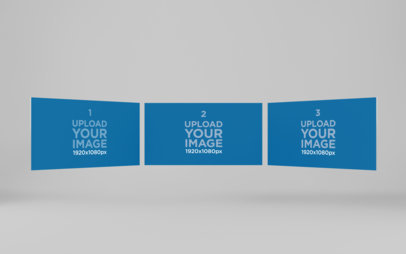 Website Screen Mockup Featuring Three Screens Floating in a Semicircle 1753-el