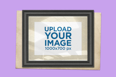Vintage Photo Frame Mockup with a Solid Color Background 1440-el
