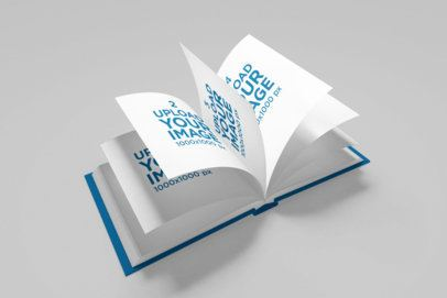 Mockup of an Open Squared Book with Flowing Pages 1570-el