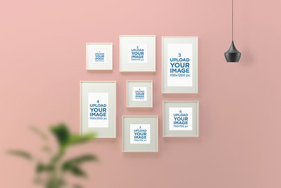Mockup of Several Art Print Frames on a Wall 1478-el