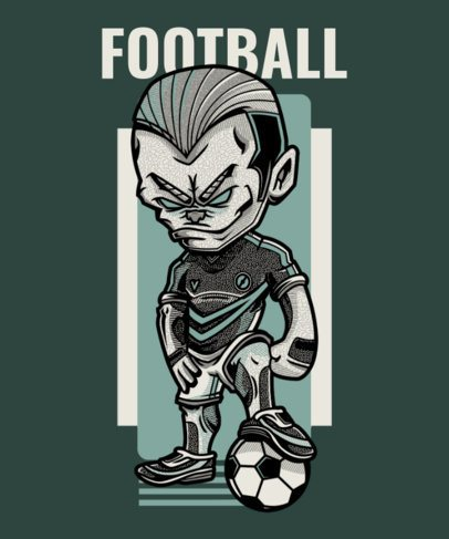 T-Shirt Design Maker Featuring a Cartoon Character with a Soccer Ball 97c-el