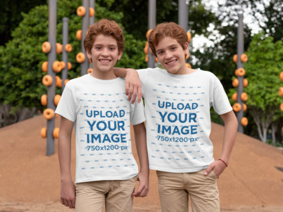 T-Shirt Mockup of Identical Twins Wearing Matching Outfits 30693