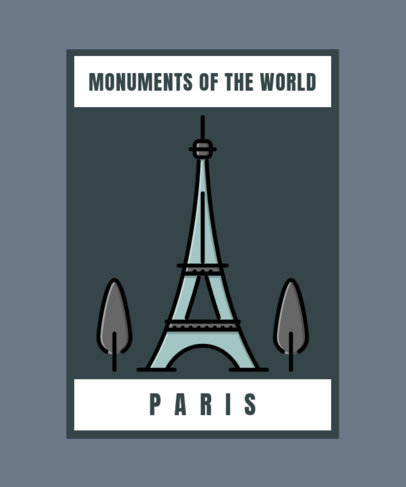 T-Shirt Design Template with Illustrated Monuments of the World 362-el