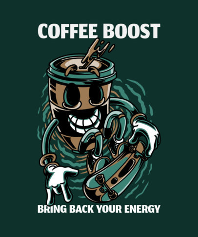 T-Shirt Design Template with an Energetic Coffee Character 37g-el