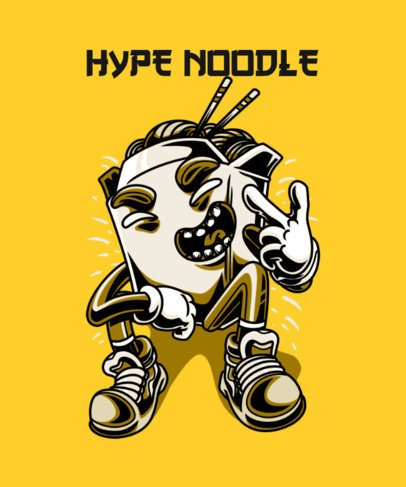 T-Shirt Design Template Featuring a Hype Noodle Character 37k-el