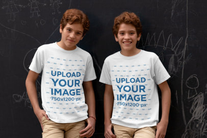 Mockup of Two Red-Hair Twins Wearing a T-Shirt 30694