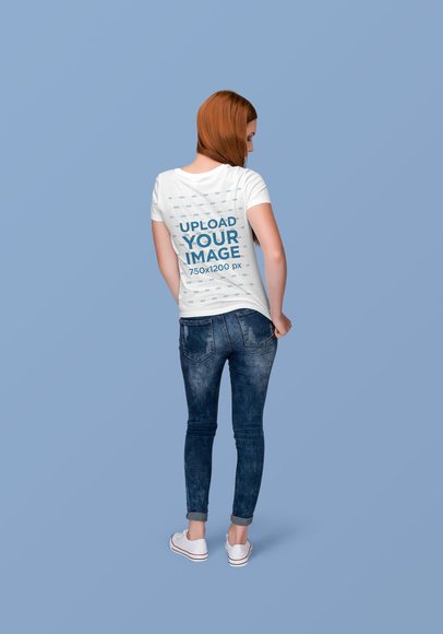 T-Shirt Mockup of a Red-Haired Woman Facing Backwards at a Studio 1880-el