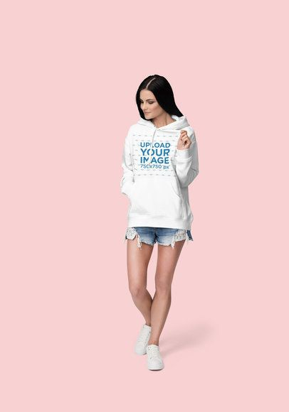 Pullover Hoodie Mockup Featuring a Long-Haired Woman at a Studio 1795-el1