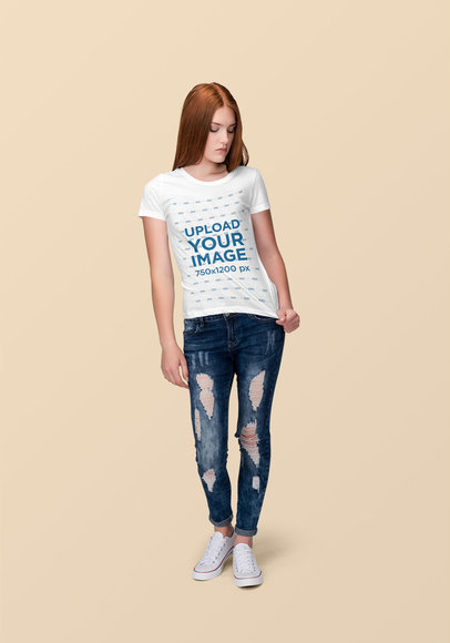 T-Shirt Mockup of a Red-Hair Woman at a Studio 1881-el