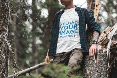 T-Shirt Mockup Featuring an Intrepid Man in the Woods 1856-el1