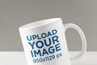 Closeup Mockup Featuring an 11 oz Customizable Coffee Mug 1674-el