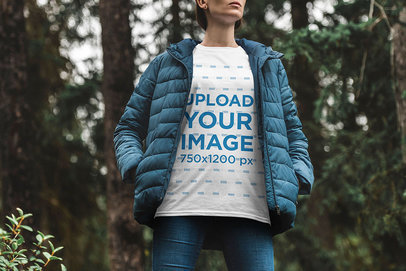 Mockup of a Woman Wearing a T-Shirt in Chilly Weather 1852-el