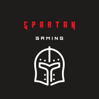 Minimalist Gaming Logo Maker with a Warrior Helmet Icon 242a-el
