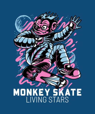 Skate T-Shirt Design Maker with an Illustrated Monkey 21b-el