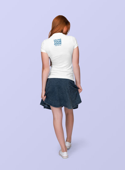 Polo Shirt Mockup of a Woman with a Denim Bottom at a Studio 1887-el