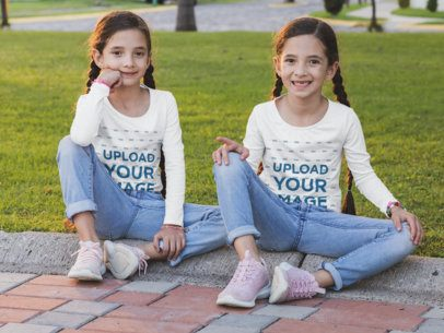 Mockup of Two Sisters with Long Sleeve Tees at a Park 30704