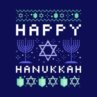 Hanukkah T-Shirt Design Template with an Ugly Sweater Style 652k-2055