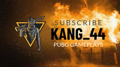 PUBG-Inspired YouTube Banner Template Featuring a Rebel Character