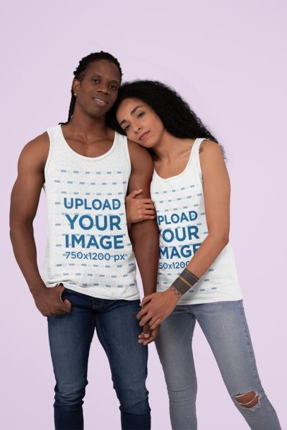 Mockup of a Couple Wearing Tank Tops at a Studio 30767