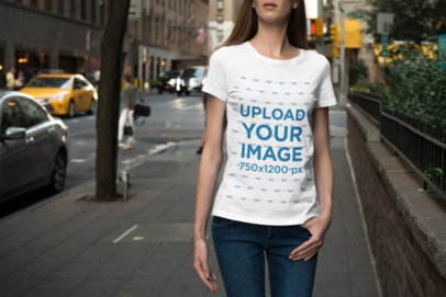T-Shirt Mockup Featuring a Woman Walking down the Street 1938-el