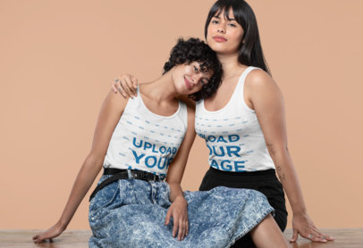 Mockup of a Couple Wearing Tank Tops and Hugging 30398