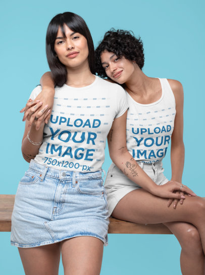 Mockup Featuring Two Women Wearing a Tee and a Tank Top at a Studio 30401
