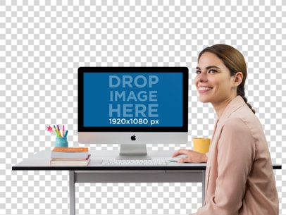 iMac Mockup of a Smiling Woman at Her Desk a11506