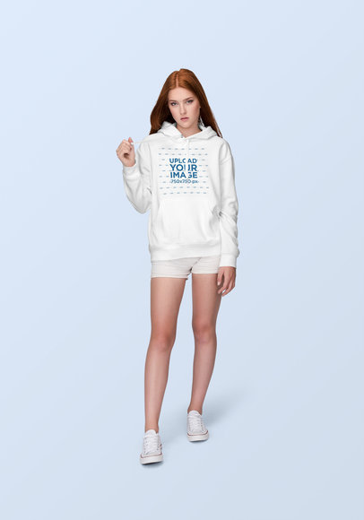 Hoodie Mockup of a Fabulous Young Woman with Red Hair 1884-el
