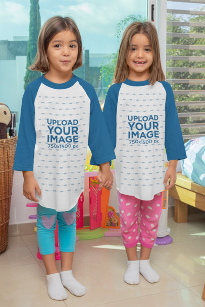 Long Sleeve Tee Mockup Featuring Twin Girls Holding Hands 31011