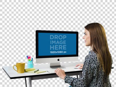 iMac Mockup of a Creative Professional With Transparent Background a11507