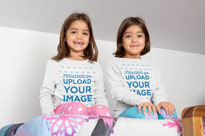 Mockup of Twin Girls Wearing Long Sleeve Tees 31009