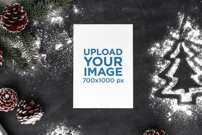 Christmas Mockup of a Postcard Lying by Pine Cones 2079-el