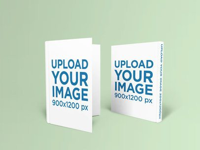 Mockup Featuring Two Hardcover Books Standing Against a Plain Color Backdrop 1523-el