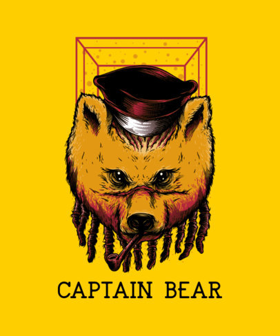 Urban-Style T-Shirt Design Template with an Aggressive Bear Face