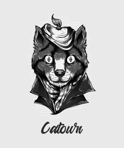 T-Shirt Design Generator Featuring a Trippy Cat Illustration 44b-el