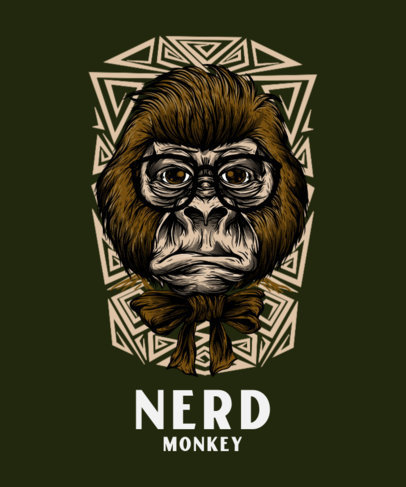 T-Shirt Design Maker with a Nerdy Monkey Face Illustration