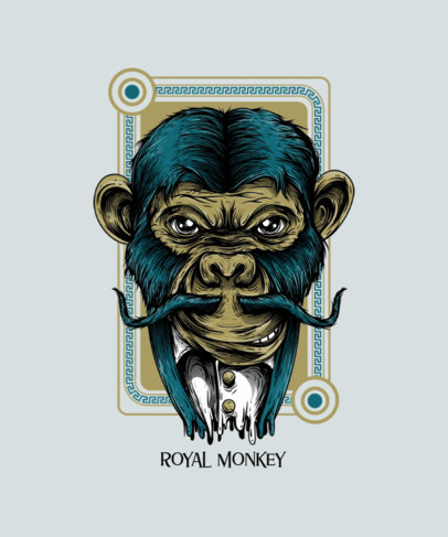 Street-Art Style T-Shirt Design Maker Featuring a Monkey with a Mustache 44f-el