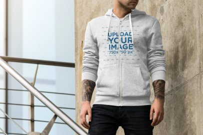 Cropped Face Mockup of a Man Wearing a Heathered Full-Zip Hoodie 1789-el1