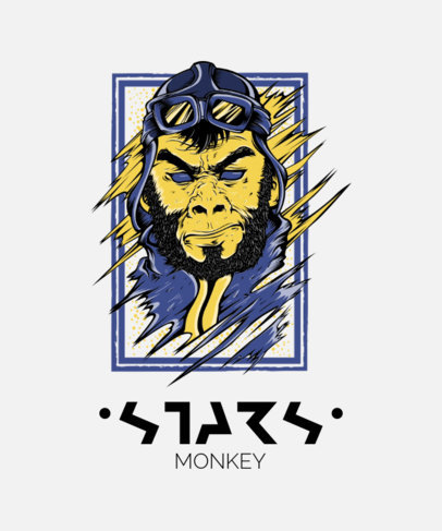 Street-Art T-Shirt Design Maker Featuring a Monkey Character with an Aviator Hat 44j-el