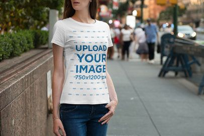 T-Shirt Mockup of a Woman Standing on the Street 1946-el1