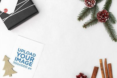 Christmas Mockup Featuring a Postcard Lying on a Pearl-Color Surface 2081-el