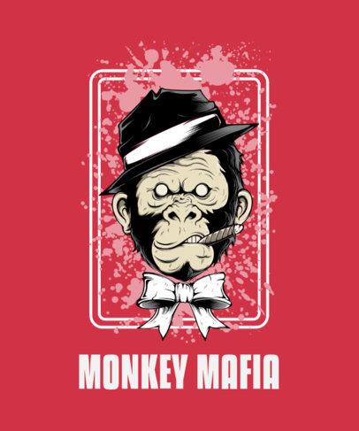 T-Shirt Design Maker Featuring a Street-Art Style Mafia Monkey 44l-el