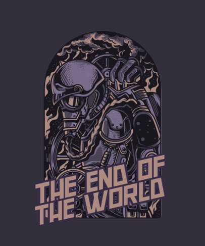 T-Shirt Design Maker Featuring an Apocalyptic Graphic in a Steampunk Style 3h-el