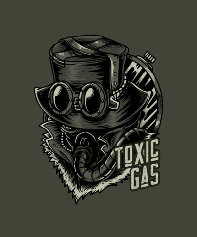 Steampunk T-Shirt Design Creator Featuring a Man with a Toxic Mask 3j-el