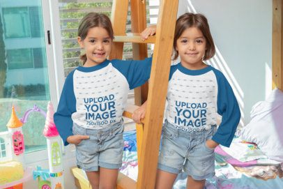 Mockup of Two Twin Girls Wearing Raglan Tees in Their Room 31016